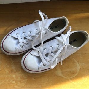 lightly worn white converse one stars